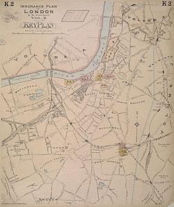 South West London Map.Insurance Plan Of London South West District Vol K Key Plan